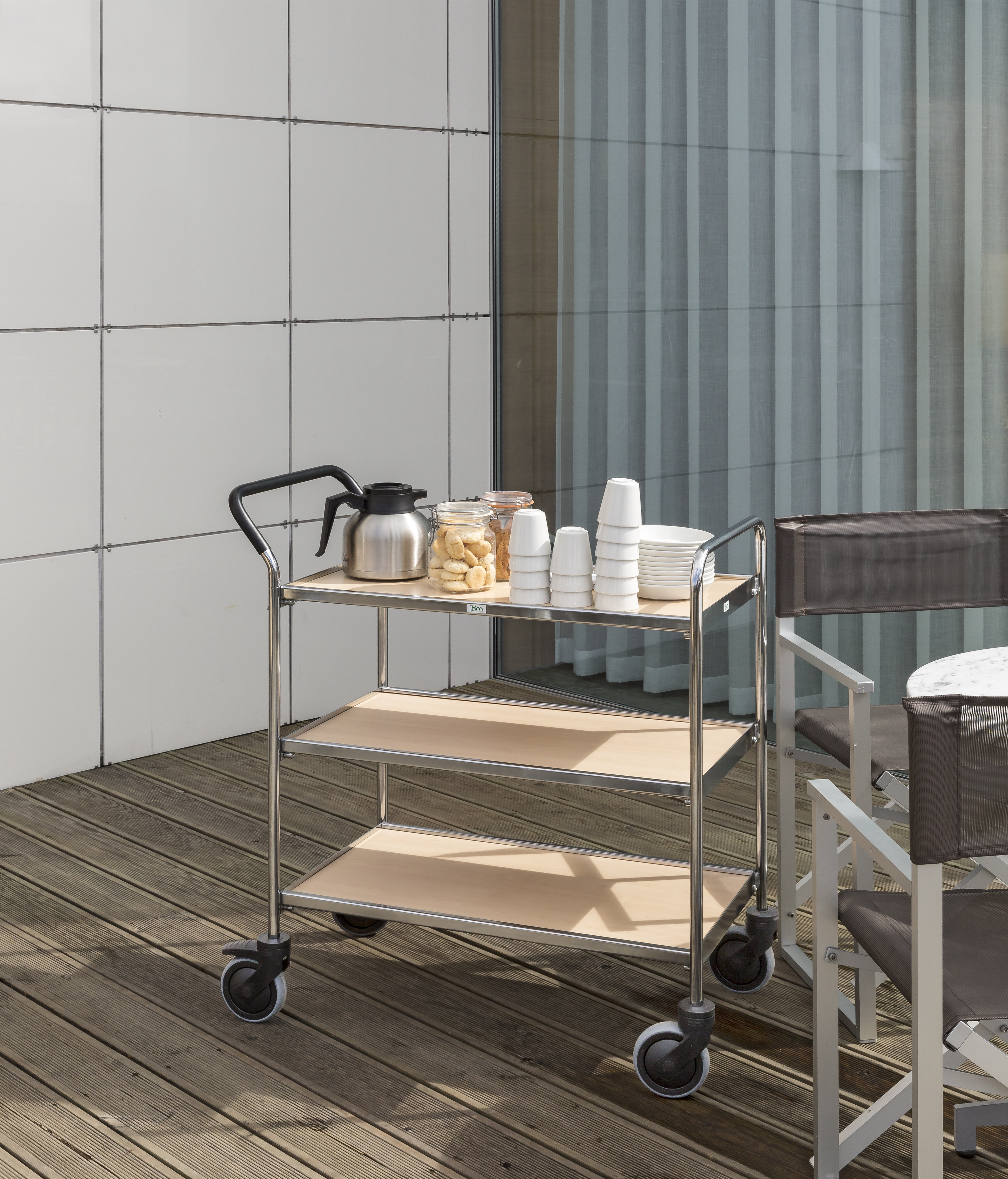 KM30CR | Chromium plated serving trolley